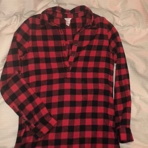 Women's knee length red flannel